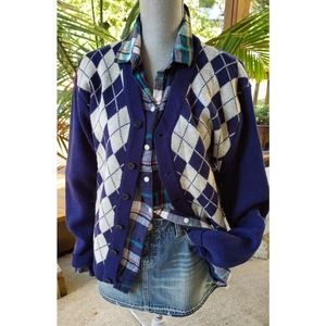Vintage 70's Argyle Cardigan Sweater  M